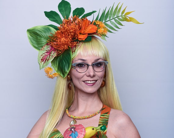 Bright Orange Tiki Tropical Fascinator Large Hair Flower Hukilau Hawaiian Jungle Luau Headpiece Summer Rain Forest Party Greenery Dapper Day
