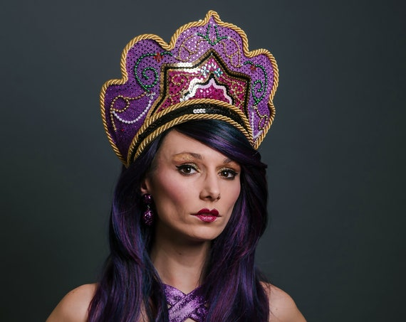 Pink Purple Golden Kokoshnik Goddess Queen Crown Royal Majestic Headdress Mardi Gras Carnevale Costume Headpiece Festival Masquerade Theater