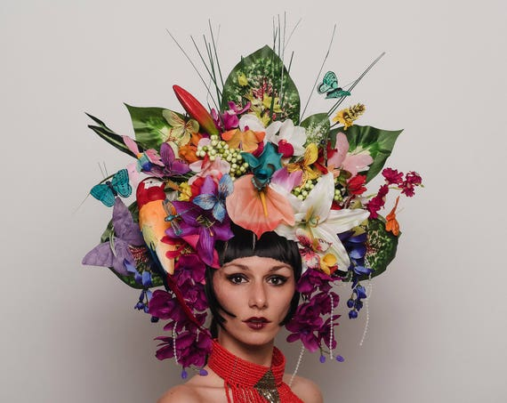 Jungle Rain Forest Tiki Caribbean Headpiece Exotic Butterfly Rave Flower Bird  Headdress Festival Carnivale Goddess Paradise Costume Crown