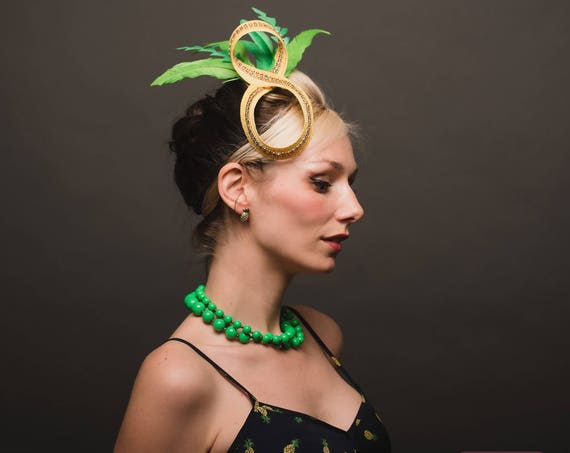 Tropical Tiki Luau Pineapple Headpiece Pinup Gold Abstract Horse Race Show Fascinator Yellow Green Headpiece Hawaiian Fruit Exotic Accessory