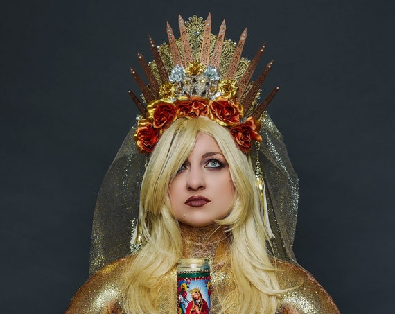 Rose Gold Halo Virgin Mary Crown Cosmic Empress Veil Heavenly Mother of God Saint Silver Copper Metallic Costume Drag Queen Lace Headdress