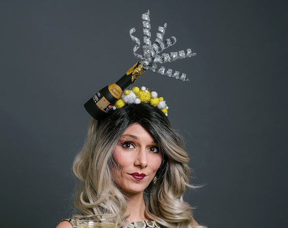 New Year's Eve Headpiece Champagne Bubbles Headband Cheers Celebration Gold Silver Mini Bottle Bubbly Sparkling Wine Celebrate Hat Unique
