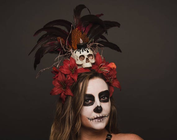 Voodoo Red Skull Tiki Headpiece Tropical Juju Black Magic Priestess Feather Headdress Candle Fire Flame Costume Shaman Cannibal Jungle