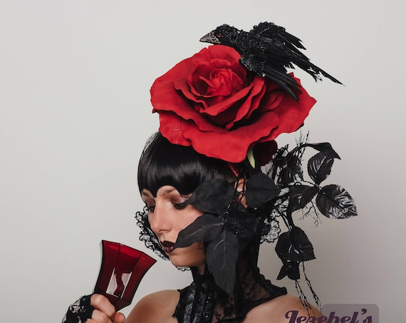 Large Red Rose WGT Black Magic Fascinator Gothic Crow Blood Hatinator Vampire Costume Raven Drag Queen Headpiece Romantic Witch Headdress