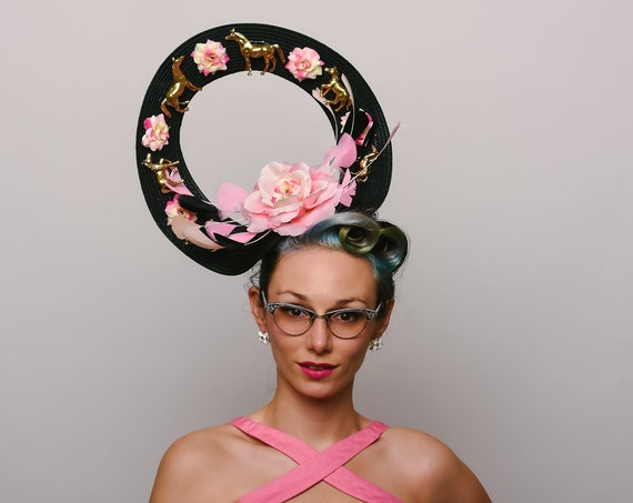 Golden Horse Floral Fascinator Kentucky Derby Unique Melbourne Race Show Feather Black Blush Pink Roses Headpiece Quirky Horses Hatinator