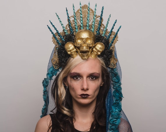 Virgin Mary Halo Saint Day of the Dead Headpiece Saint Gold Skulls Crown Wgt Dia de los Muertos Headdress Blue Black Veil Costume Heaven