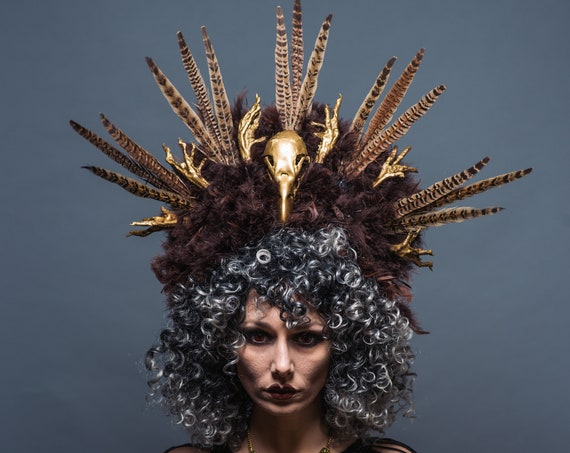Voodoo Priestess Shaman Witch Doctor Headdress Chicken Feet Bird Skull Feather Crown Brown Gold Costume Juju Black Magic Headpiece Halloween