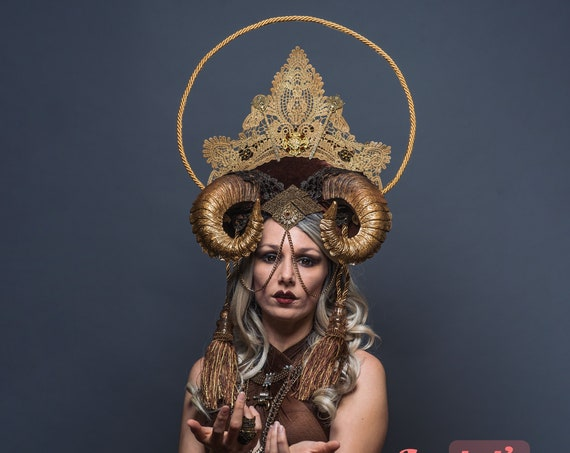 Golden Brown Horns Rave WGT Headdress Burning Man Headpiece Masquerade Crown Tassel Mistress Halo Demon Bovine Minotaur Majestic Goddess Ram
