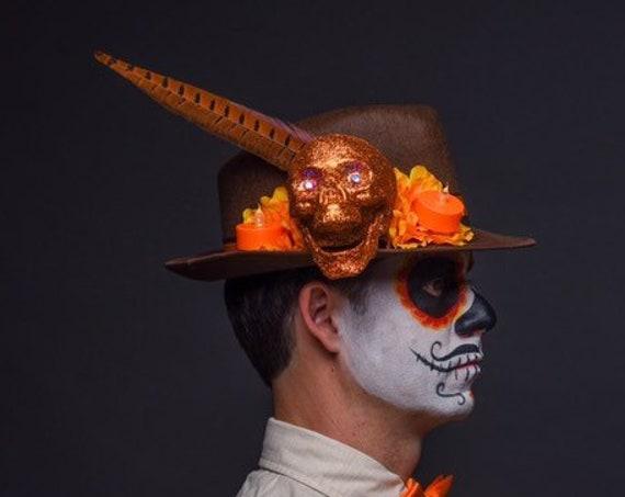 Brown Orange Fedora Skull Dia de los Muertos Cempazuchitl Feather Skull Day of the Dead Hat Mens Light Up Cempasuchil Costume Halloween