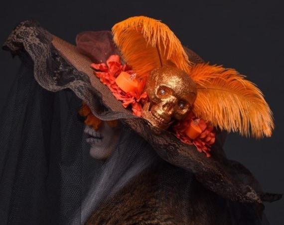 Catrina Day of the Dead Dia de los Muertos Floppy Hat Brown Skull Cempazuchitl Marigold Veil Orange Flower Candle Light Up Costume Halloween
