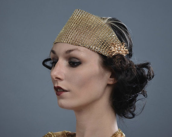 1920s Gold Gatsby Flapper Headband Circus Burlesque Exotic Showman Goddess Costume Showgirl Costume Fascinator Nouveau Headpiece Headdress