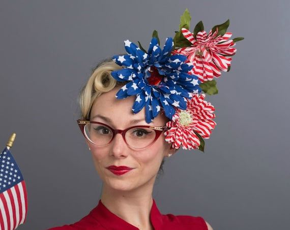 Red White Blue Flower Crown 4th of July Headdress Dapper Hair Flower Party Headpiece Patriotic Independence Day American Flag Star Stripe