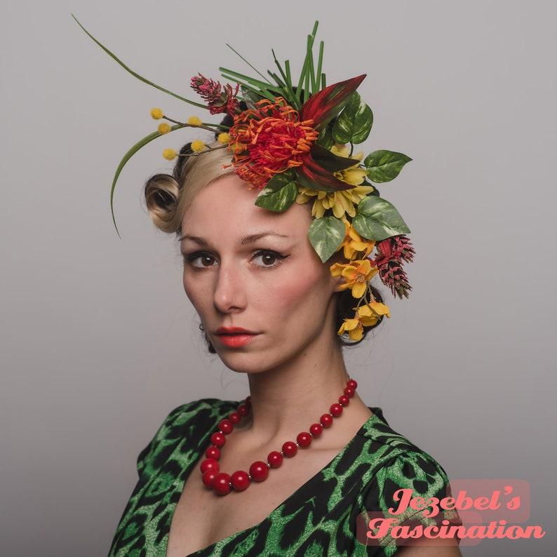 Tiki Noir Red Fire Pele Headdress Tropical Gothic Flower Crown Luau Hukilau Oasis Headpiece Dark Lily Flame Exotic Polynesian Goddess Queen