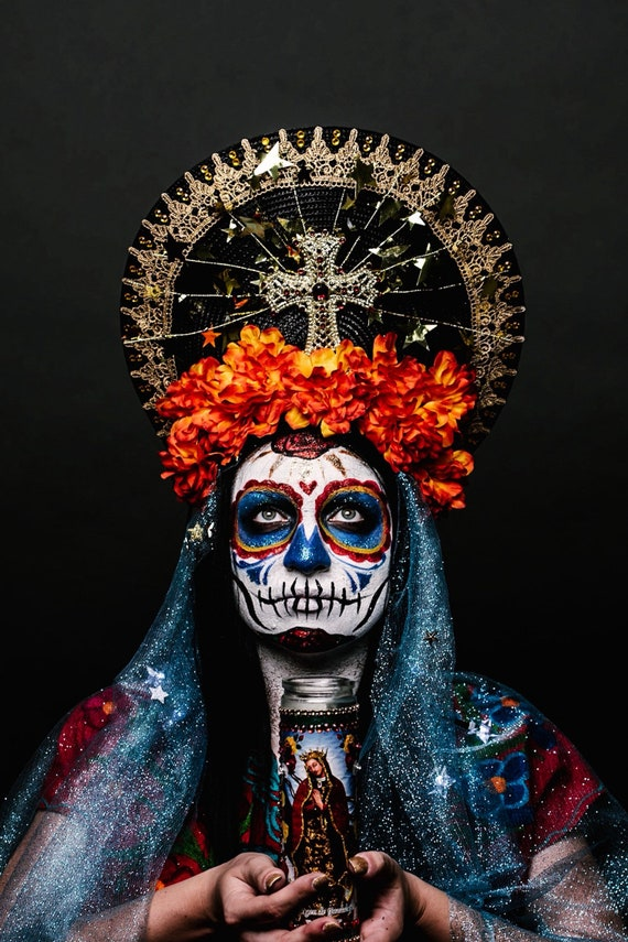 Day of the Dead Dia de los Muertos Virgin Mary Halo Saint Orange Flower Crown Cempazuchitl Blue Veil Gold Stars Light Up Headpiece Headdress