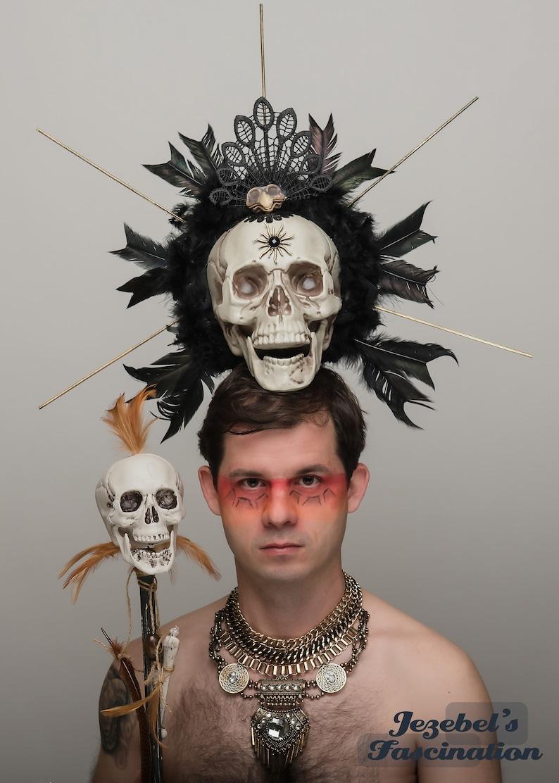 LARP-head dress-horns head dress-Voodoo - headdress with