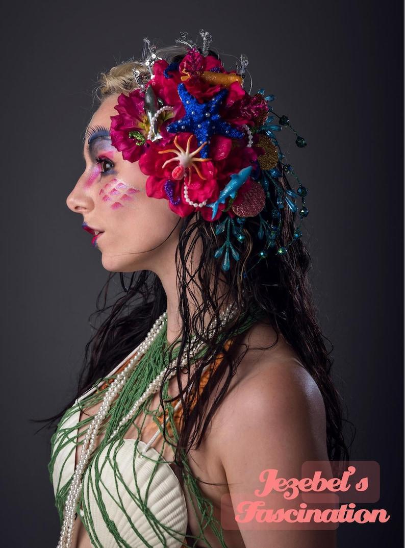 Tiki Bamboo Floral Light Up Headdress Flamingo Kanzashi Headpiece Oasis Flower Crown Polynesian Caribbean Asian Hukilau Tropical Colorful