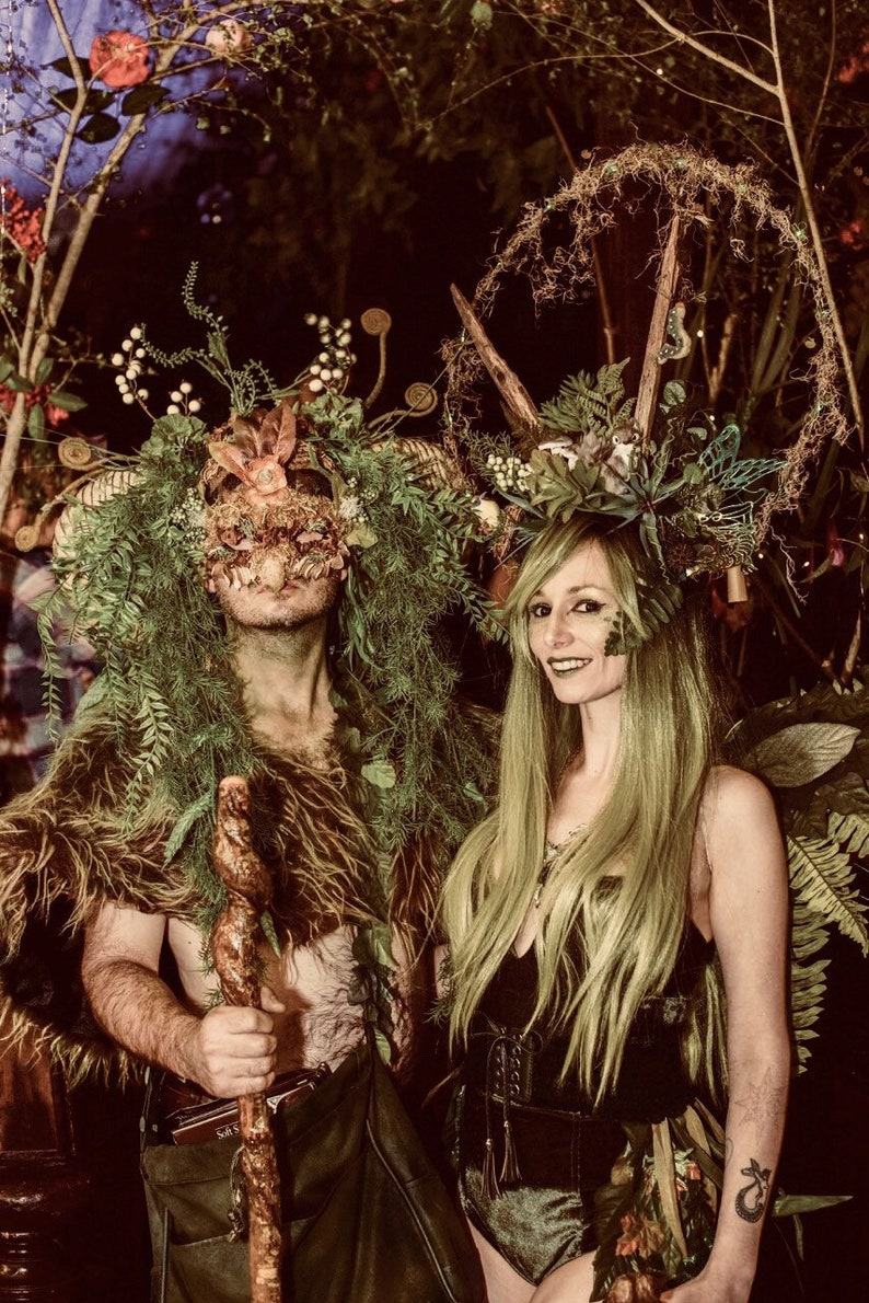 Green Man Masquerade Mask Woodland Forest Bohemian Moss Jack Berries Carnevale Carnival Druid Theater Nature Renaissance Festival Brown