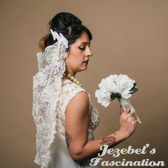 Bride Of Frankenstein Veil White Lace Headdress Funny Bridal Etsy