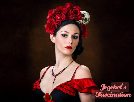 Flower Crown Day of the Dead Halo  Catrina Dia de los Muertos Red Rose Skull Headdress Queen Costume Fascinator Head piece Frida Headband