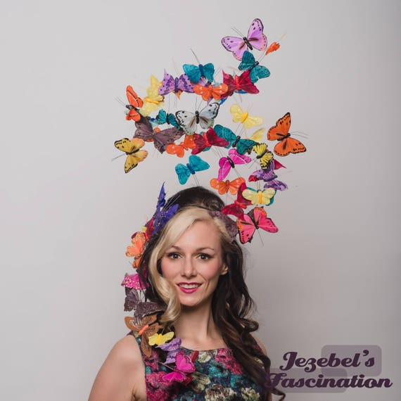 Large Butterfly Headpiece Multicolored Butterflies Ethereal Hatinator Ascot Derby Headwear Large Spring Summer Garden Tea Party Headband