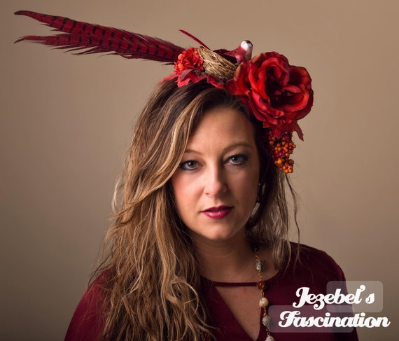 Demeter Harvest Boho Feather Flower Headdress Southwestern Bird Nest Red Rust Pheasant Floral Fascinator Autumn Fall Maple Rose Headpiece