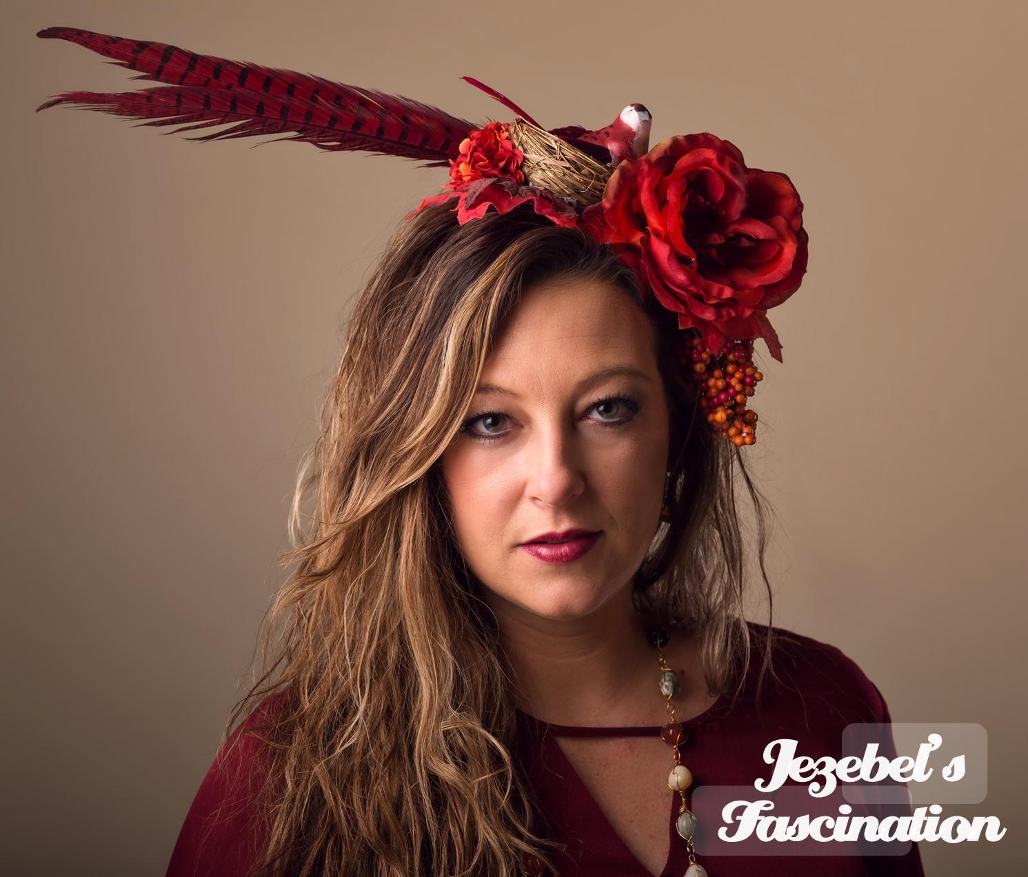 Demeter Harvest Boho Feather Flower Headdress Southwestern Bird Nest Red  Rust Pheasant Floral Fascinator Autumn Fall Maple Rose Headpiece 573f0ac8823