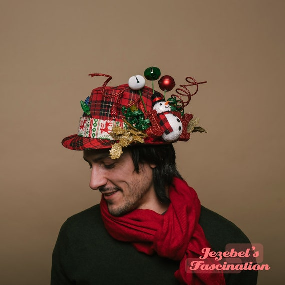 Mens Funny Christmas Bells Light Up Hat Ugly Sweater Fedora Plaid Tartan Festive Novelty Lights Tacky Party Accessory Frosty Snowman Red