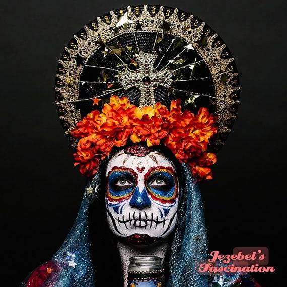 Day of the Dead Dia de los Muertos Virgin Mary Halo Saint Orange Flower Crown Cempazuchitl Blue Veil Gold Stars Light Up Headpiece Headdress