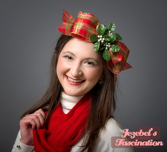 Mistletoe Red Gold Plaid Fascinator Novelty Berry Green Ribbon Hand Made Ugly Tacky Christmas Sweater Rustic Bow Headpiece Holiday Headwear
