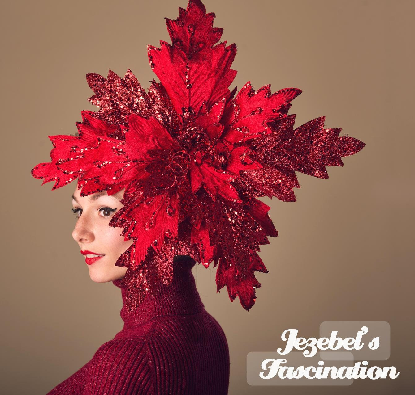 Huge Red Glitter Poinsettia Fascinator Giant Winter Headpiece Tacky