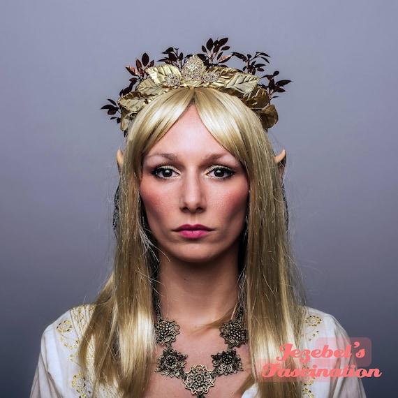 Natural Golden Woodland Elf Queen Crown Copper Leaves Elvish Circlet Tiara Elven Renaissance Headpiece Mother Earth Fairy Leaf Medieval