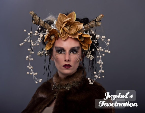Deer Antler Goddess Forest Headdress Gold Cernunnos Headpiece Wild Boho Magnolia Flower Crown Doe Headwear Flidais Pearl Berry Black Costume