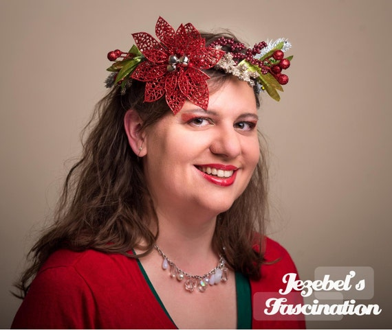 Christmas Poinsettia Circlet Berry Holiday Season Crown Hand Made Red Silver Green Berries Yule Headpiece Bells Headdress Wreath Hair Flair