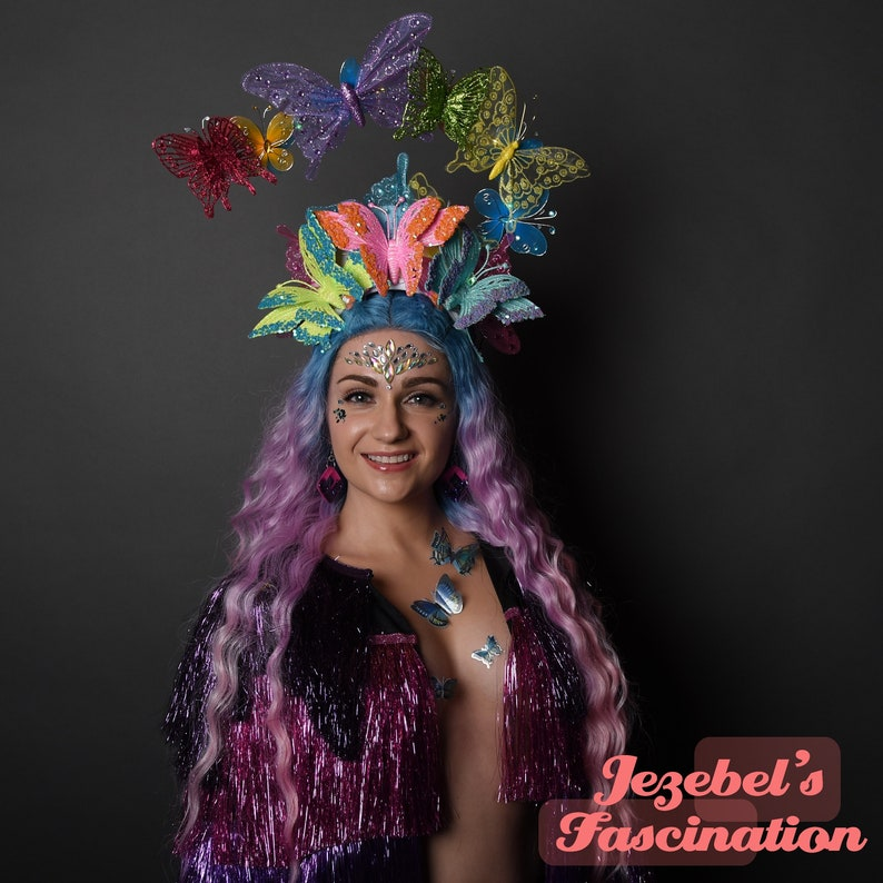 Rainbow Rave Light Up Butterfly Headdress EDC Neon Drag Queen Burning Man Mardi Gras Electric Forest Headpiece Crown Festival Carnival