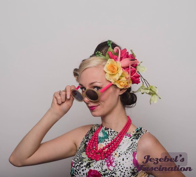 8ac69e9e83 Tiki Luau Tropical Flamingo Fascinator Beach Hair Flower