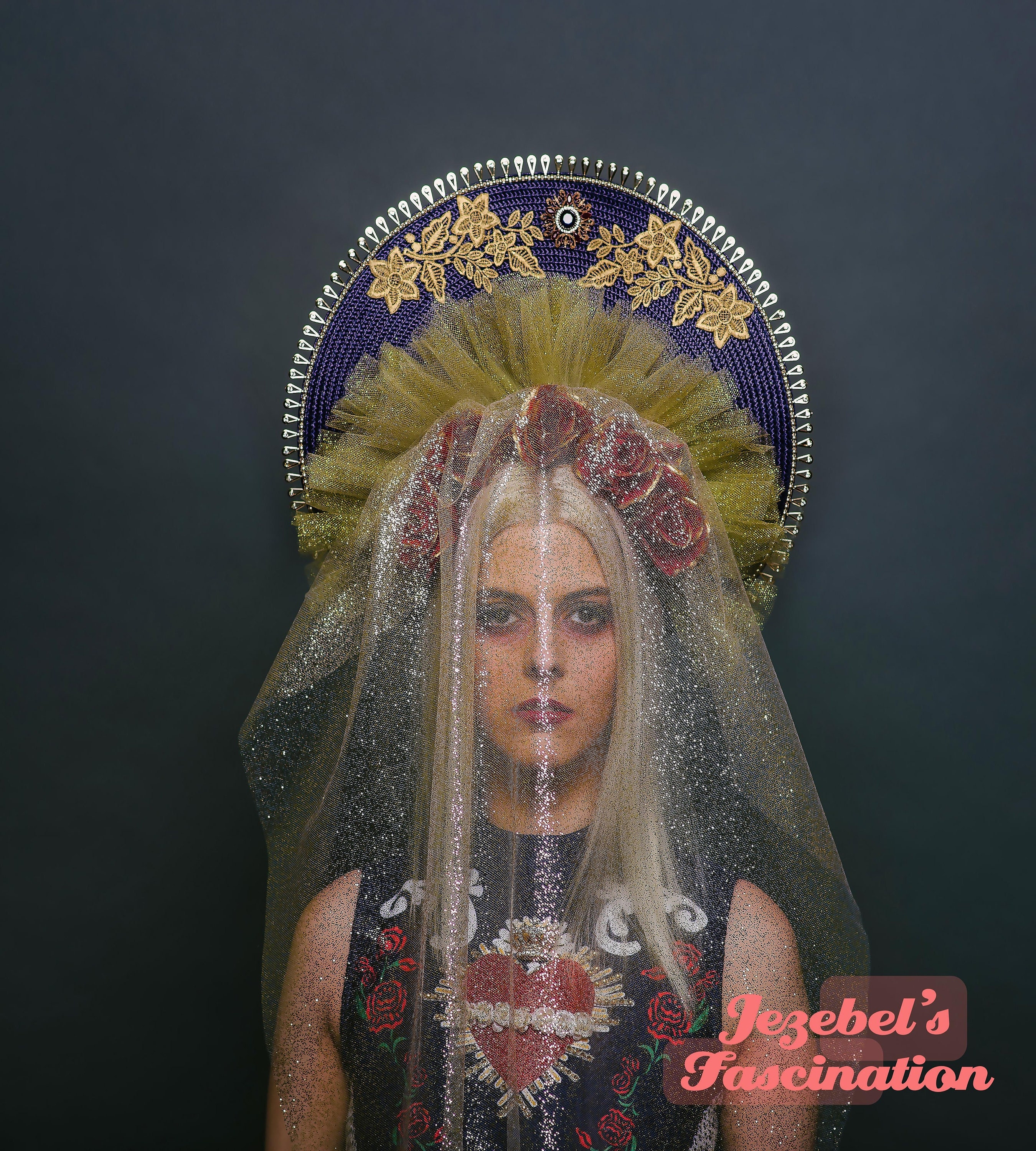 Navy Blue Red Gold Virgin Mary Halo Headdress Saint Top Veil Madonna Costume Floral Blessed Mother Head Piece Queen Rose Flower Crown  sc 1 st  Jezebelu0027s Fascination & Navy Blue Red Gold Virgin Mary Halo Headdress Saint Top Veil Madonna ...