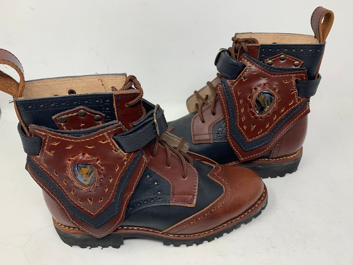 Womens size 9 Handmade For Life *Gunslinger* Boots Black and Brown w/ pietersite