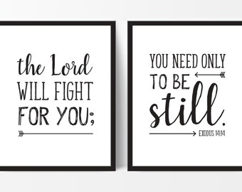 The Lord Will Fight For You, Exodus Verse, Large Wall Art, Bible Verse Poster, 24x36 Prints, Be Still, Exodus 14:14, Printable, Scripture