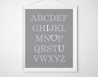 ABC I Love You, Printable Alphabet, Gray Nursery Decor, Playroom Art, Alphabet Nursery, Alphabet Print, Nursery Art, Alphabet Poster, ABCs