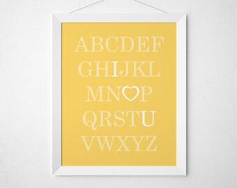 Yellow Nursery Printable, ABC I Love You, Alphabet Art, Yellow Kid Room, Alphabet Print, Nursery Alphabet, Yellow Baby Room, Playroom Art