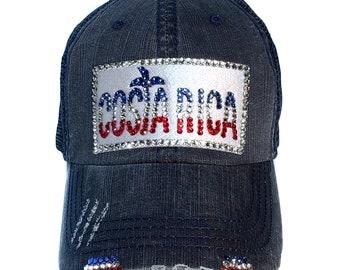 8873d5fca51 Costa Rica Baseball Hat for Women - Swarovski Crystal Rhinestones
