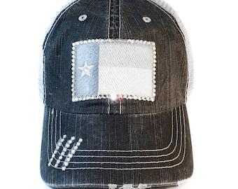 84120aed9ab Texas Flag Trucker Hat - Womens Baseball Cap - Swarovski Crystal Rhinestones