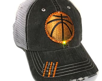 ae461fc9403 Basketball Mom Distressed Trucker Hat Customized with Team colors Bedazzled  with Swarovski Crystals Bling