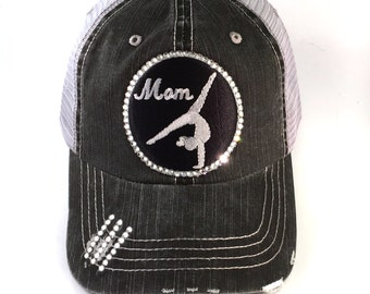 8e04930dbb9 Gymnastics Mom Trucker Hat Bedazzled with Real Swarovski Crystal Bling -  Black and Grey Embroidered Patch Gymnast Tumbler on denim Mesh Back