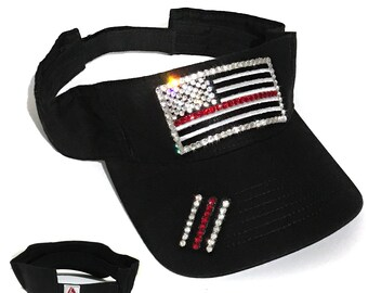 1740eb76ae2 American Flag Visor July 4th Visor Memorial Day Visor Thin Red Line Flag  Visor Women s Sun Visor Bling Visor Ladies Sun Visor Elivata