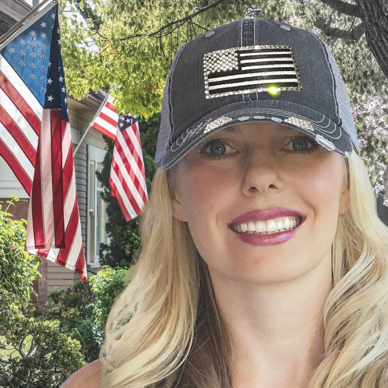 52776175254 Distressed Flag Hat Womens Flag Hat US Flag Hat American Flag