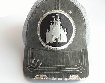 Womens Disney Hat - Disney Castle Baseball Cap - Bling