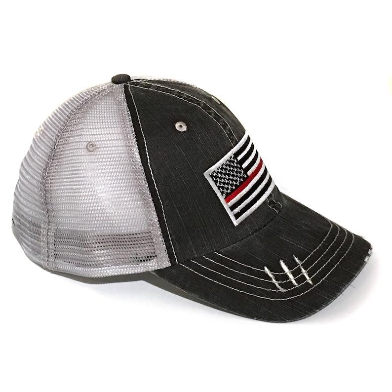 Mens Thin Red Line Flag Trucker Hat Firefighter Gift For Him  2adbf0b67f65
