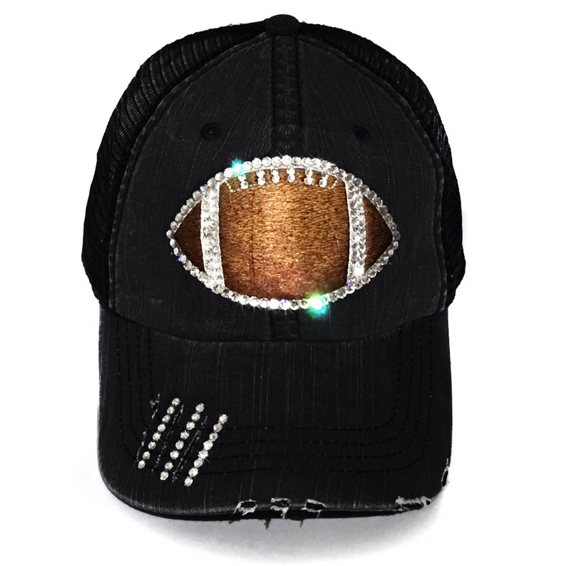 d3d82b50546 Football Mom Hat Football Bling Hat Rhinestone Football Hat