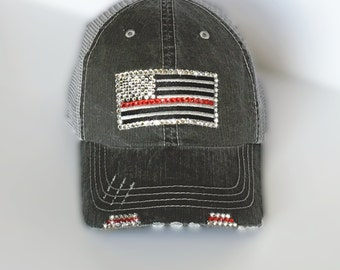 The Thin Red Line Red Line Flag Firefighter Wife Gift  Distressed Trucker Cap firefighter flag fire wife gift rhinestone trucker hat elivata